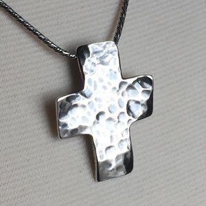 Silpada Hammered & Oxidized Cross, Sterling Silver